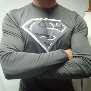 Superman workout shirt silver grey